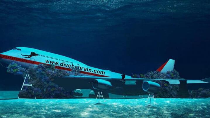 Pesawat Boeing 747 Taman Tema Dasar Laut Pertama Dunia